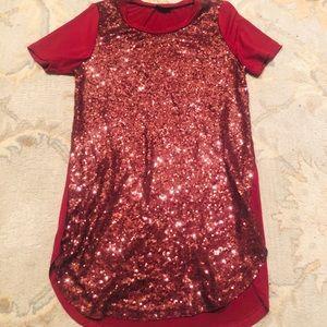 Red sequin long shirt / short dress